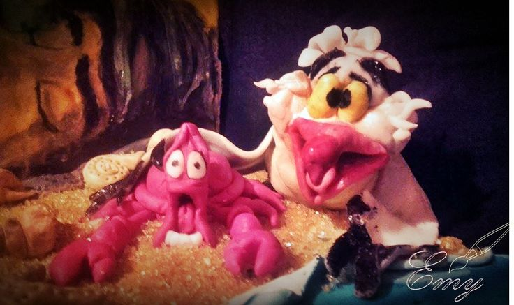 Scuttle and Sebastian sugar figure  The little mermaid cake A kis hableány torta - Halaty és Sebastian cukor figura