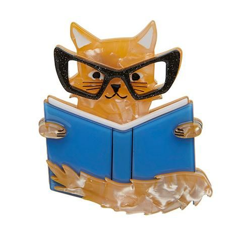 """Erstwilder Limited Edition Puss in Books Brooch. """"'If man could be crossed with the cat it would improve the man but it would deteriorate the cat.' Mark Twain was a smart guy!"""""""