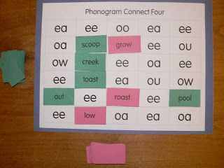 FREE phonics game, students match words with their vowel pattern and try to get four cards in a row, this site has several different versions of the game for different phonics patterns