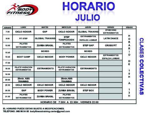 Aqu tienes el horario del gimnasio body fitness en yecla for Horario gimnasio