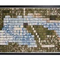 Floating mosaic construction of ceramic tiles joined with rings and suspended within a frame