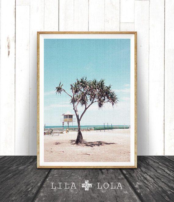 Strand kunst, Decor van het strand, moderne Decor van de kust, strand foto, Palm Tree, strand Hut, strand scène kunst aan de muur, Aqua blauw afdrukbare kunst