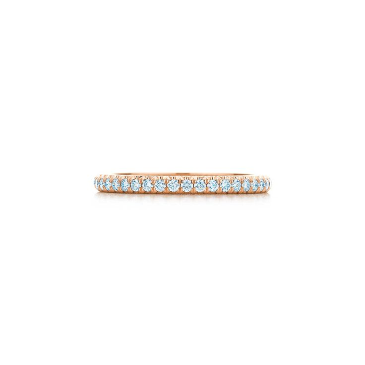 Tiffany Soleste® band ring in 18k rose gold with diamonds.