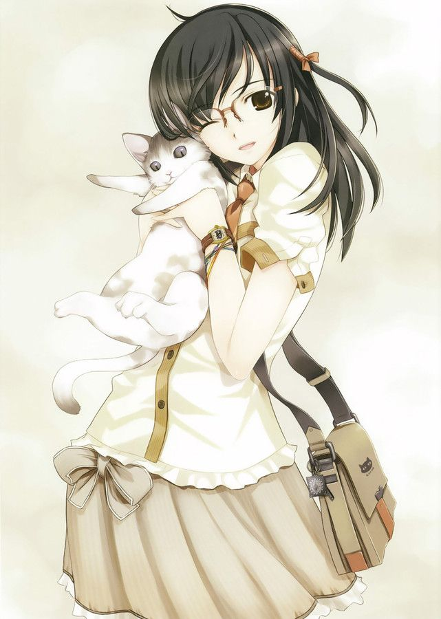 Cute anime girl with cat find this pin and more on anime girl brown hair and glasses