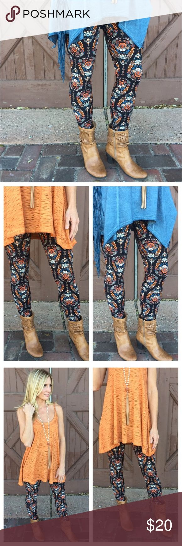Leggings- Spring Paisley Print Leggings ❤️ Leggings- Spring Paisley Print Leggings ❤️ Super soft brushed knot leggings. 92% Polyester, 8% Spandex. One Size. Hand wash cold, do not bleach, hang dry. Made in China. Infinity Raine Pants Leggings