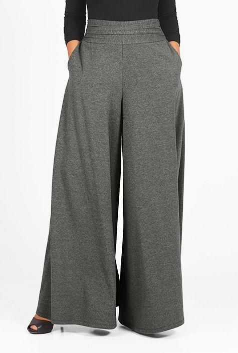 #Pleat waist #melange #knit #palazzo #pants #eShakti