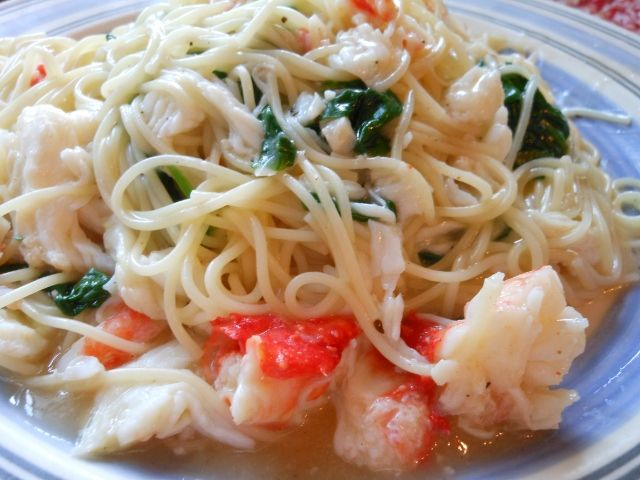 Angel Hair Pasta with Crab and Spinach. I actually would do this with shrimp. The imitation crab I got just didn't cut it. But the flavor is good!