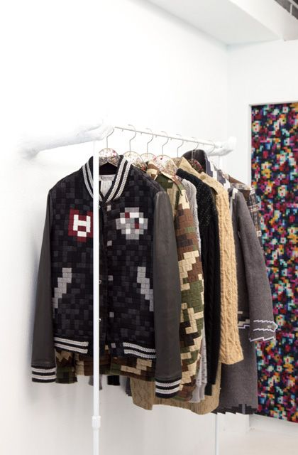 A store in Harajuku, Tokyo, Japan, contains almost 8-bit anything.  Anrealage, by emerging Japanese designer Kunihiko Morinaga, has clothes, shoes, and furniture in pixelated fashion.
