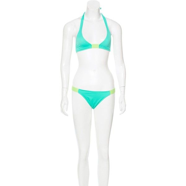 Pre-owned Diane von Furstenberg Two-Piece Swimsuit ($65) ❤ liked on Polyvore featuring swimwear, bikinis, green, two piece bikini, green bikini, green bathing suit, 2 piece swimsuits and halter bikini