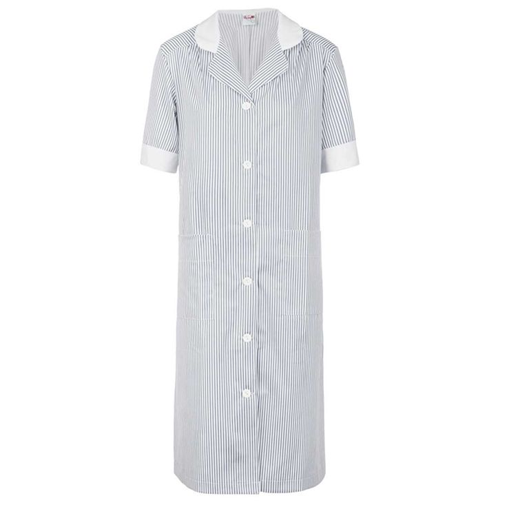 Bata rayada en gris con contraste blanco. Tiene dos bolsillos generosos de palastrón y las mangas anchas. Contraste blanco en el cuello y las mangas.  #bata #rayas #gris #blanca #larga #uniforme #trabajo