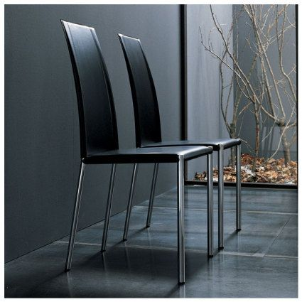 The contemporary Canova dining chair is ideal for creating a formal dining environment. The seat is made from a smooth and sleek leather which stands on a strong chrome or painted aluminium frame. The back legs of the chair mirror the design of the curved backrest, creating an elegant, modern line. £164.00