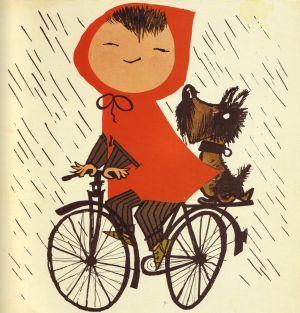 Fiep WestendorpWall Art, Little Red,  Rickshaw, Illustration, Fiepwestendorp, Bikes Riding, Red Riding Hoods, Fiep Westendorp, Riding A Bikes