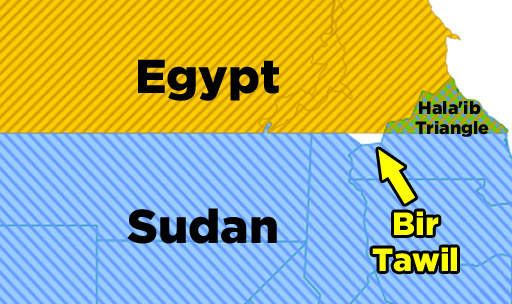 In 1902, the UK drew up border lines for Egypt and Sudan that were different from those previously established in 1899. Because of this, two lands were in dispute: Bir Tawil and the Hala'ib Triangle. Both Egypt and Sudan claimed the Hala'ib Triangle, because of its desirable natural resources. Bir Tawil, on the other hand, had nothing. So neither country claimed it. Bir Tawil is essentially the ugly baby that neither parent wants. :(