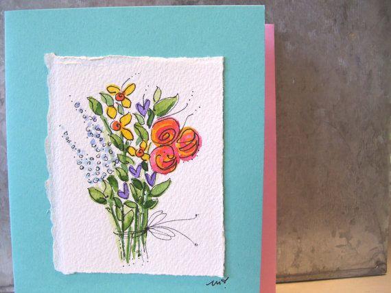 "Watercolor Card Original Art ""Big Flowers"" Blank With Envelope betrueoriginals"