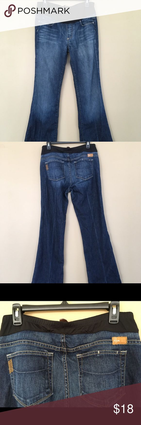 Paige Premium Denim Maternity Boot Cut Size 31 Buyer gets these Awesome Pre-Owned Women's Paige Maternity premium Denim Blue Jeans Dark Wash Boot Cut. Belly panel  SIZE 31 SEE PICS For Measurements   Fantastic Condition No Holes Tears or Stains PAIGE Jeans Boot Cut