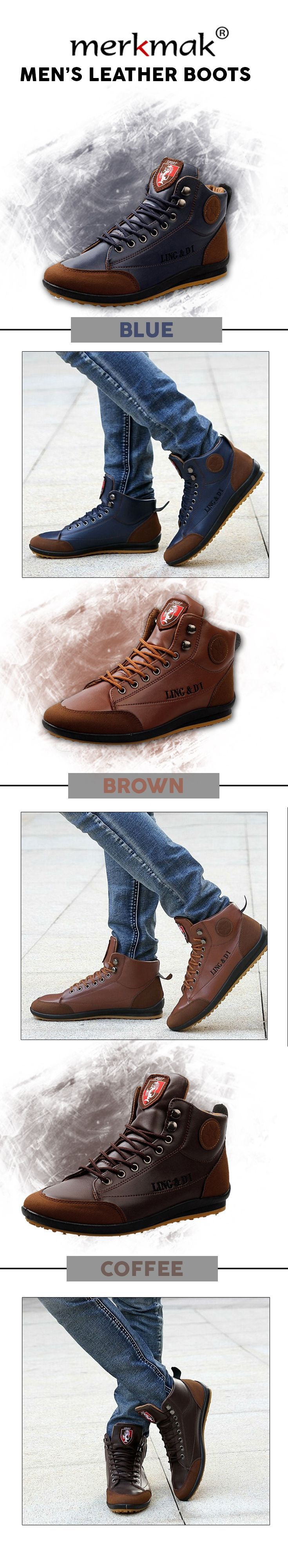 Men's leather high ankle boots - Merkmak fashion leather shoes - Men's top brand style affordable menswear #mensfashion #mensshoes #mensapparel #MensFashionBoots