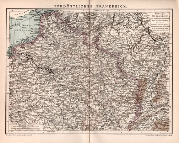 1898 France Old Map Antique Print Northeast of by Craftissimo