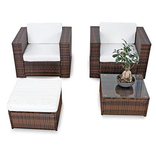 10tlg. Polyrattan Lounge Gartenset XL für Balkon und Terrase ...