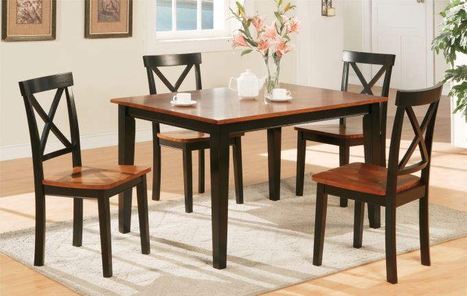 Small Kitchen Tables and Chairs | 5PC Two Tone Medium Cherry Black Kitchen Table and Chairs