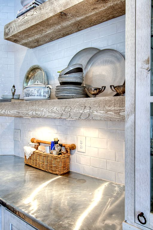 Rustic wood shelves kitchen subway tile