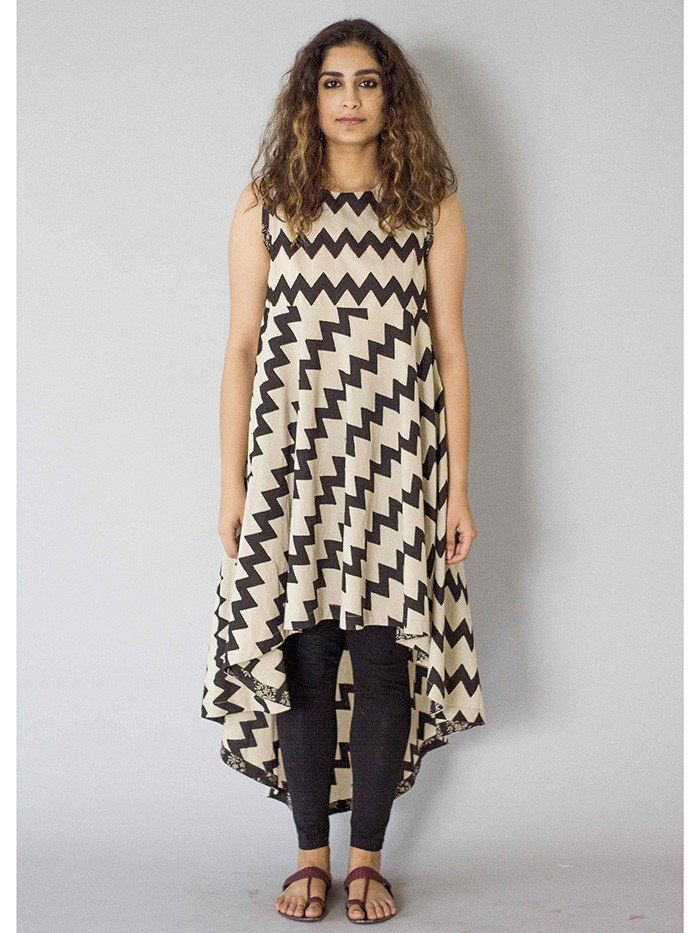Black-White Achromatic Asymmetrical Cotton Tunic