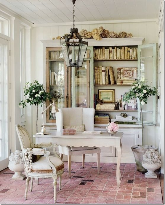 french country home office love the bookcase and hanging lantern the soft colors and - Design Home Office Space