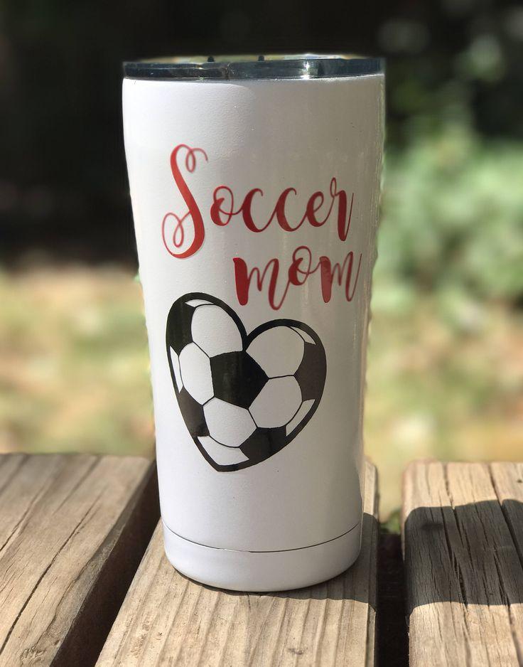 Soccer 20oz ozark trail tumbler, yeti style tumbler, soccer mom tumbler, sports theme cup, white tumbler by EdmistonCustomCrafts on Etsy