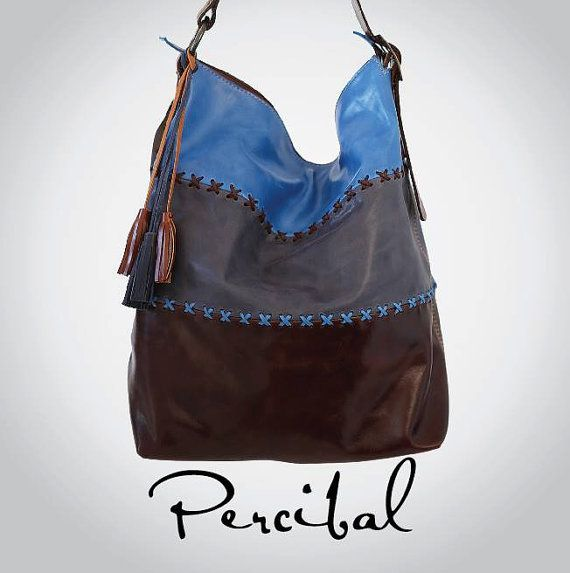 Large Hobo Bag Leather bag Oversized purse Blue by Percibal