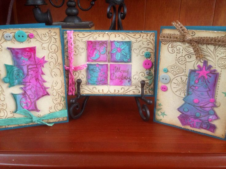 Distressed paint Christmas cards