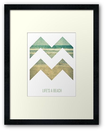"Life's A Beach Framed Art Print by ARTbyJWP from Redbubble #artprints #framedartprint #buyart #artbyjwp #lifesabeach ---    Chevron with vintage sea surface and ""Life's A Beach"" • Also buy this artwork on bags, apparel, stickers, and more."