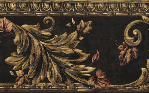 Acanthus-Scroll-On-Black-Wallpaper-Border