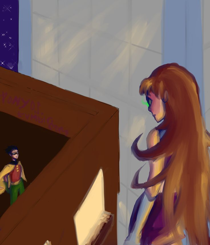 Robin and Starfire watching each other in the distance