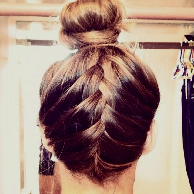 Flip your head over French braid from neck up, when you get just above your ears regularly braid the rest of the piece and put a ponytail at the end put all of your hair in a high ponytail including the braid. Take the ponytail from the braid off and throw it in a messy bun!
