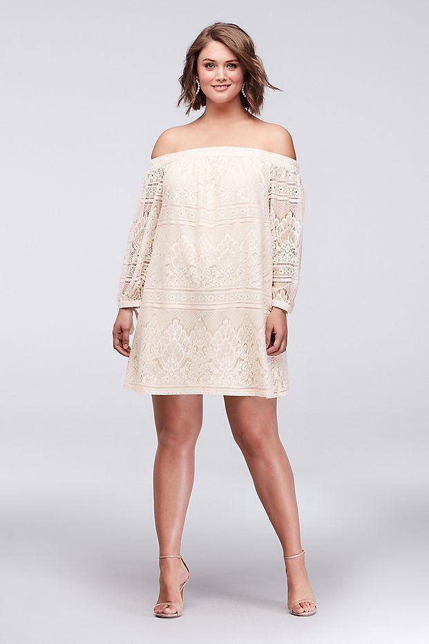 Off-the-Shoulder Plus Size Lace Mini Dress | David\'s Bridal | Eva ...