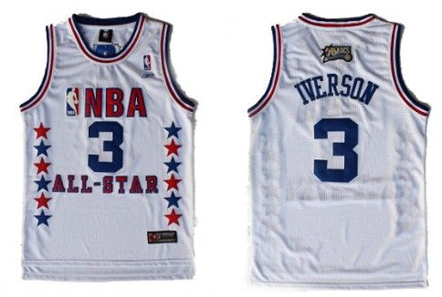 NBA 2003 All-Star #3 Allen Iverson White Swingman Throwback Jersey