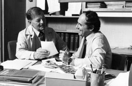 Zanvil Cohn (left) and Ralph Steinman in 1983.
