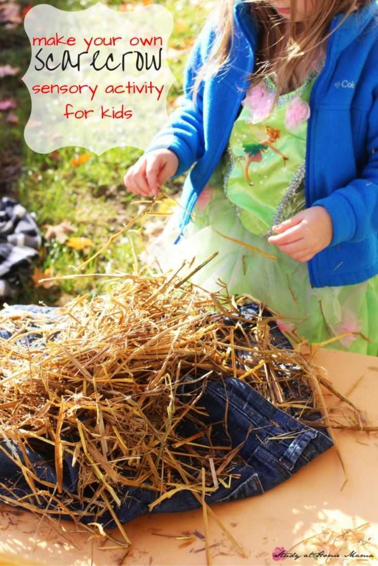 Make your own scarecrow sensory activity for kids - the original & quintessential fall activity for kids. (Great for after watching the Wizard of Oz, too!)