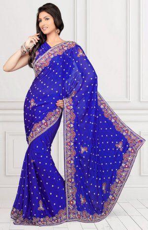 Attractive Royal Blue Color Satin Bollywood Saree MPS916. Sale : $171.00