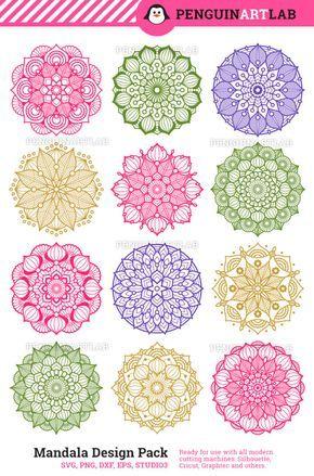 Mandala-Design-Set SVG-Mandala-Monogramm-Rahmen SVG-Schnittdateien für Cricut Explore, Silhouette Cameo, Mandala-Monogramm SVG-Mandala-Rahmen
