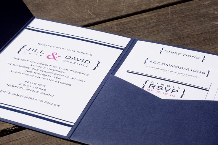 Simple Nautical Inspired Invitation   Colors: Navy, Pink, White   Description:  This preppy nautical inspired invitation was printed using the thermography printing method (raised printing). A navy pocketfold held all accessories including the main wedding invitation, response card, directions, and accommodations. The pocketfold was finished off with silk rope tied in a nautical knot. Envelope liners were lined in the white envelope showing off a little pop of color.