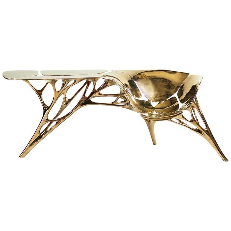 Polished Brass Lotus Console Table