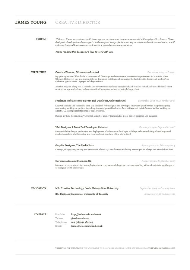 Resume Of James Young, Creative Director From CV Parade
