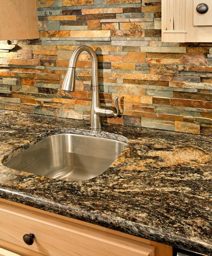 Great falls bar sink and faucet with ledgestone backsplash custom bar and built in board - Backsplash tile rustic ...