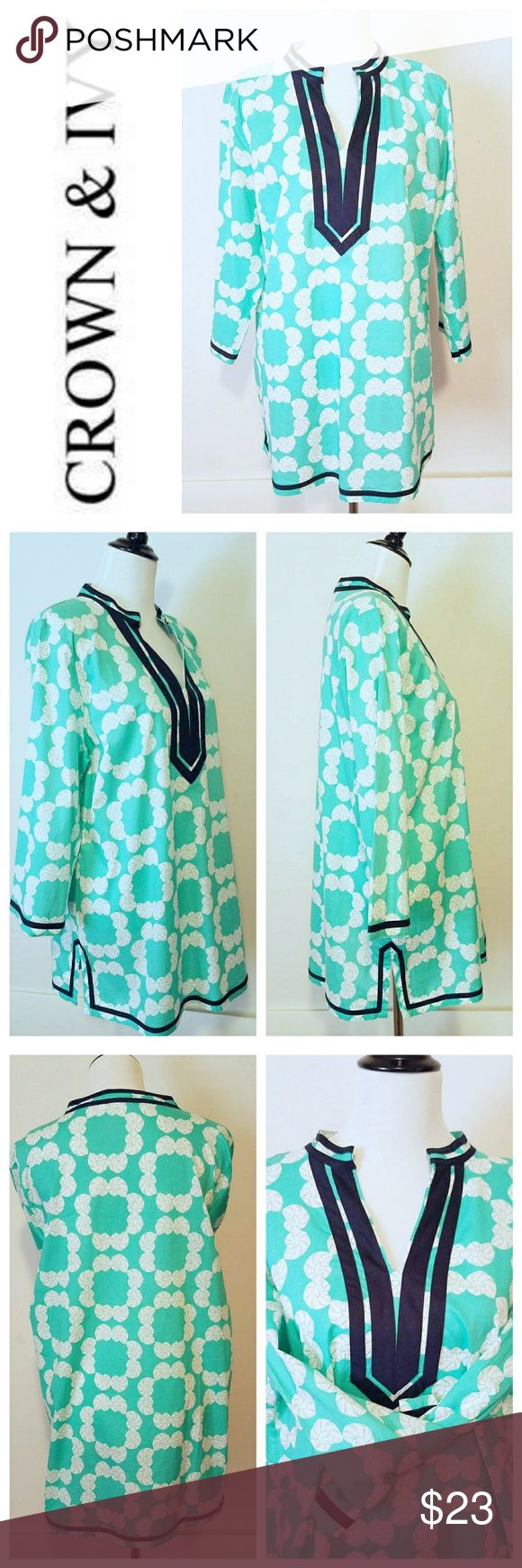 """NWOT - Crown & Ivy Summerwear/Swimsuit Cover Up Just in time for Spring this, adorable CROWN & IVY  oversized cover up is great for everything!  Pop it on over a swim suit or, long enough to wear as a cute tunic dress.  Throw on with jeans or leggings to complete the look. So versatile and fancy! I have too many! 100% soft cotton. Measurements - Bust 42"""", Waist 32"""", Hips 44"""", Sleeve Length 20"""", Lenth from mid back tagline to hem is 31""""~ All items come freshly laundered or dry cleaned unless…"""