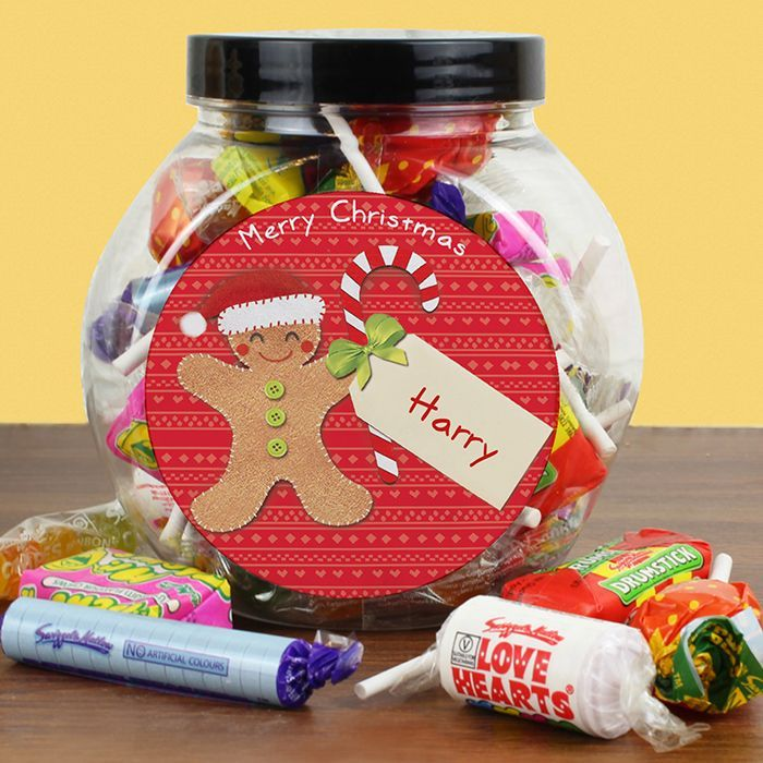 Personalised Felt Stitch Gingerbread Man Sweet Jar What could be better than a jar of scrumptious sweets this Christmas from Creative Gifts uk