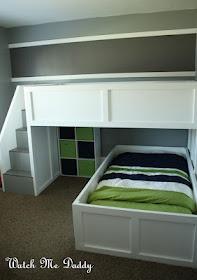DIY bunk bed. I LOVE this!Diy Bunk, Kids Stuff, Bunk Beds, Kids Room, Room Ideas, House, Boys Room, Bedrooms Ideas, Bunkbeds