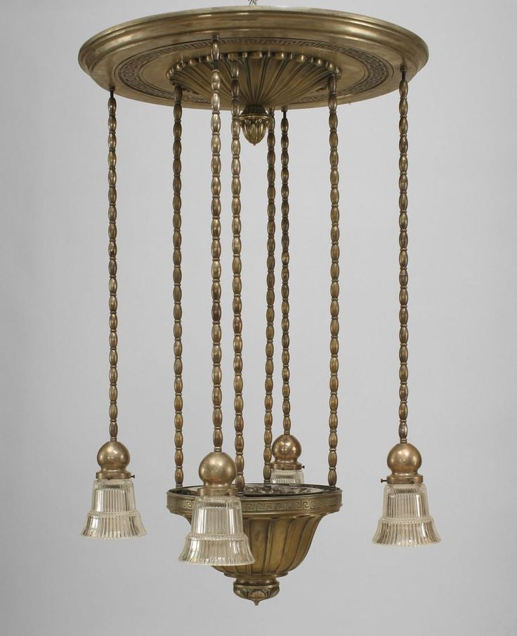 American Art Deco silver plate bronze chandelier with 4 glass shades and  large round canopy (I Comfort/Chicago mercury glass reflector uplight shade) - 655 Best Art Deco Lampen Images On Pinterest Art Deco Lighting