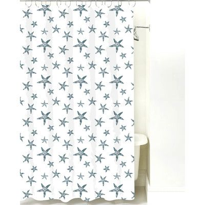 NECR Print Starfish Cotton Shower Curtain Color Teal