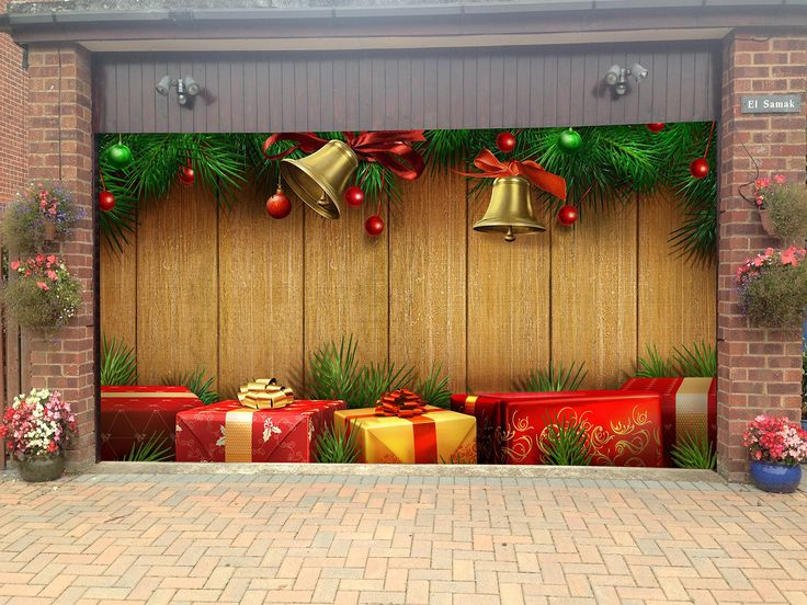 Merry christmas garage door covers 3d banners holiday tree for Outside garage decorations