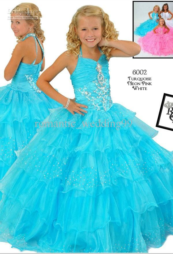 Wholesale Blue Kids Pageant Dresses Halter Girl's Formal Occasion Party Gowns Children Bride Flower Girl Dress, Free shipping, $103.04-115.36/Piece | DHgate